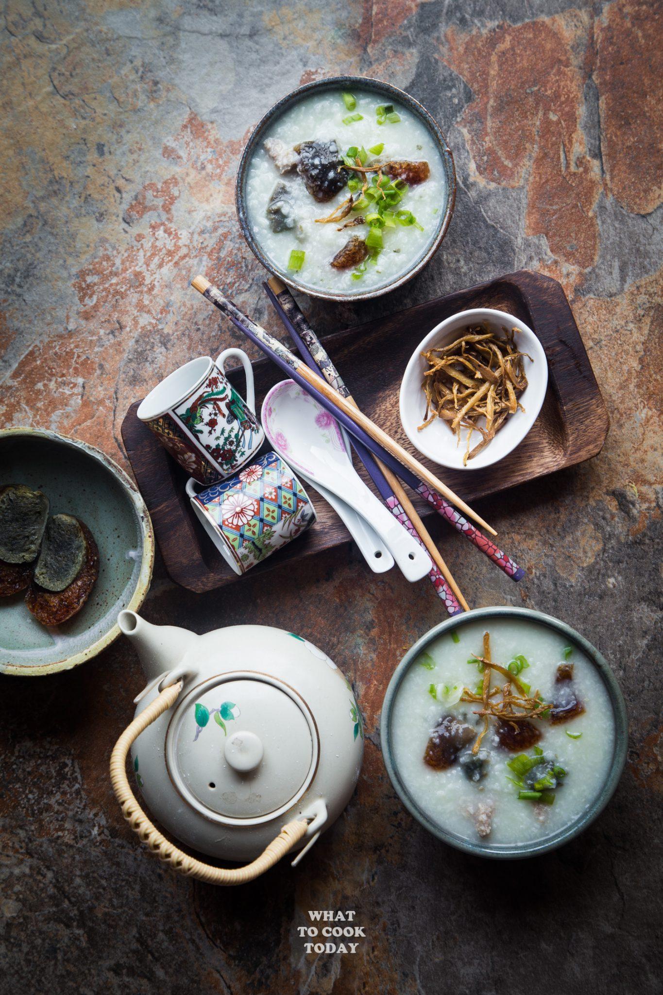 Pork and century egg congee (Bubur pitan) flatlay