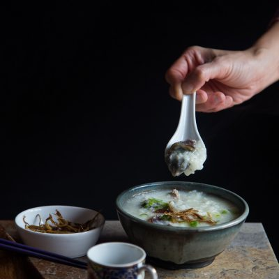 Pork and century egg congee (Bubur pitan)