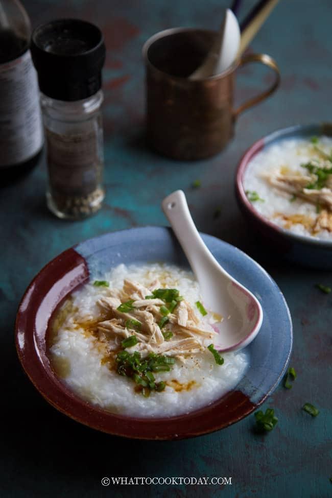 Easy Chicken Rice Porridge / Congee (Bubur Ayam)