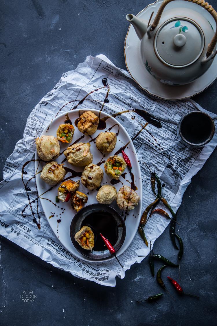 Tahu isi sayur renyah (Crispy veggie stuffed tofu)
