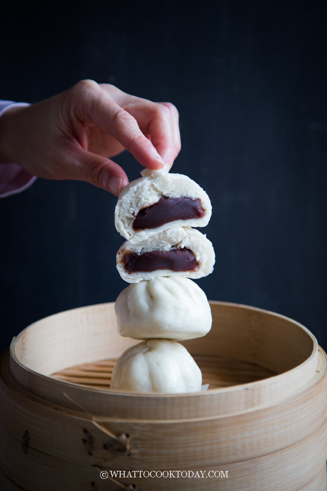 Best Homemade Dou Sha Bao (Red Bean Paste Steamed Buns). Soft and fluffy steamed buns stuffed with sweet red bean paste filling. Homemade is best.
