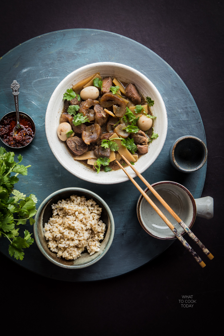 Braised pork with sea cucumber. Made with pork butt, sea cucumber, bamboo shoots, and quail eggs braised in seasonings and spices