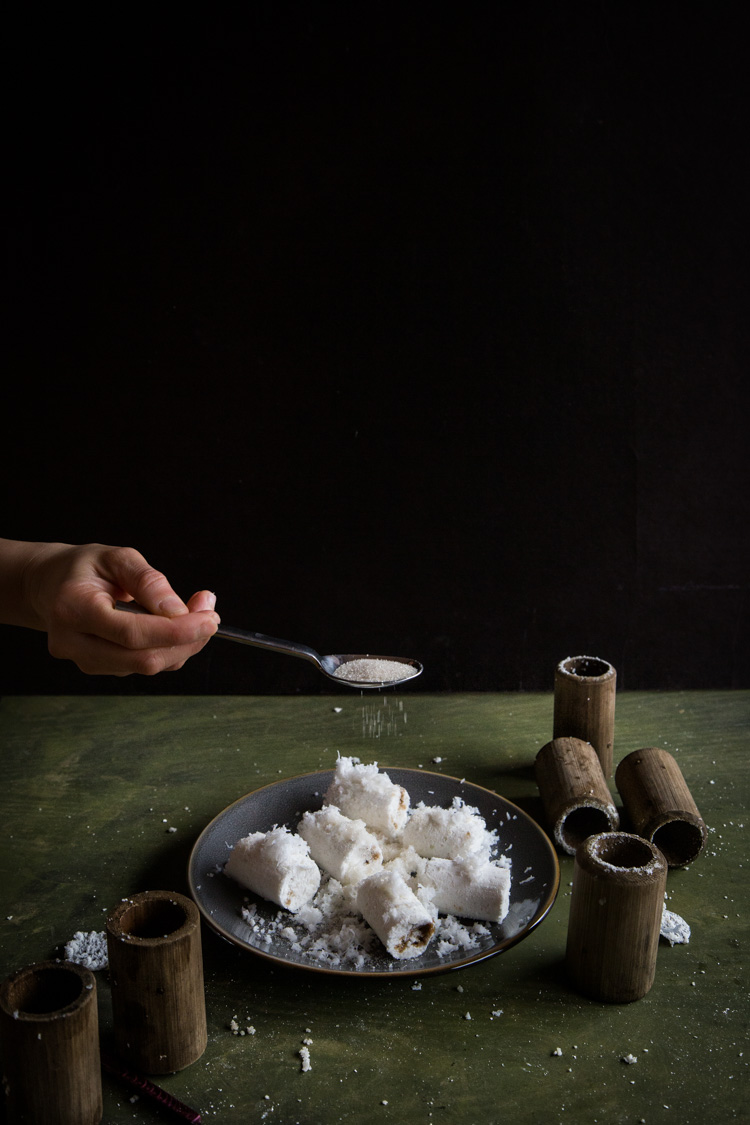 Indonesian Putu Bambu (Steamed Rice Cake in Bamboo)
