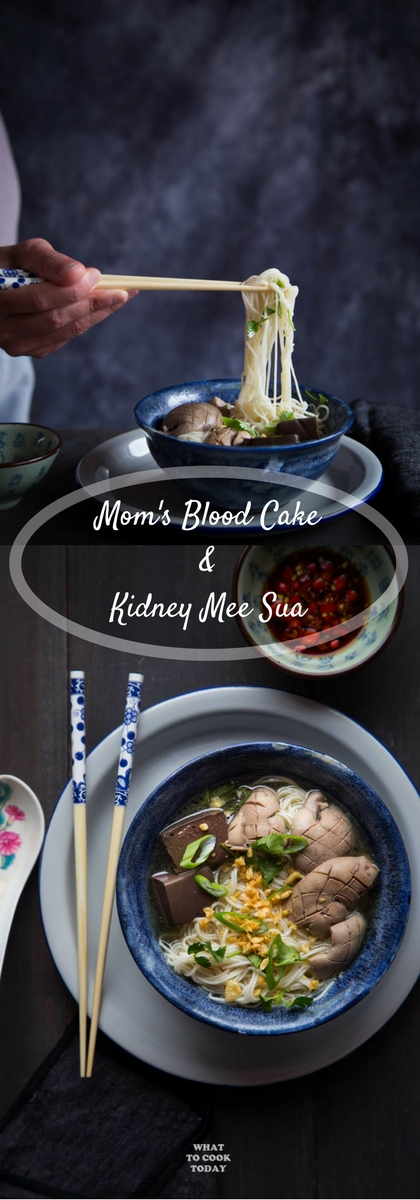 Mom's Blood Cake and Kidney Mee Sua. Thin wheat noodles, mee sua, are served with pig's kidney and blood cake in ginger savory broth and crispy garlic. It's not for the faint of heart, but those who enjoy offal will love this.