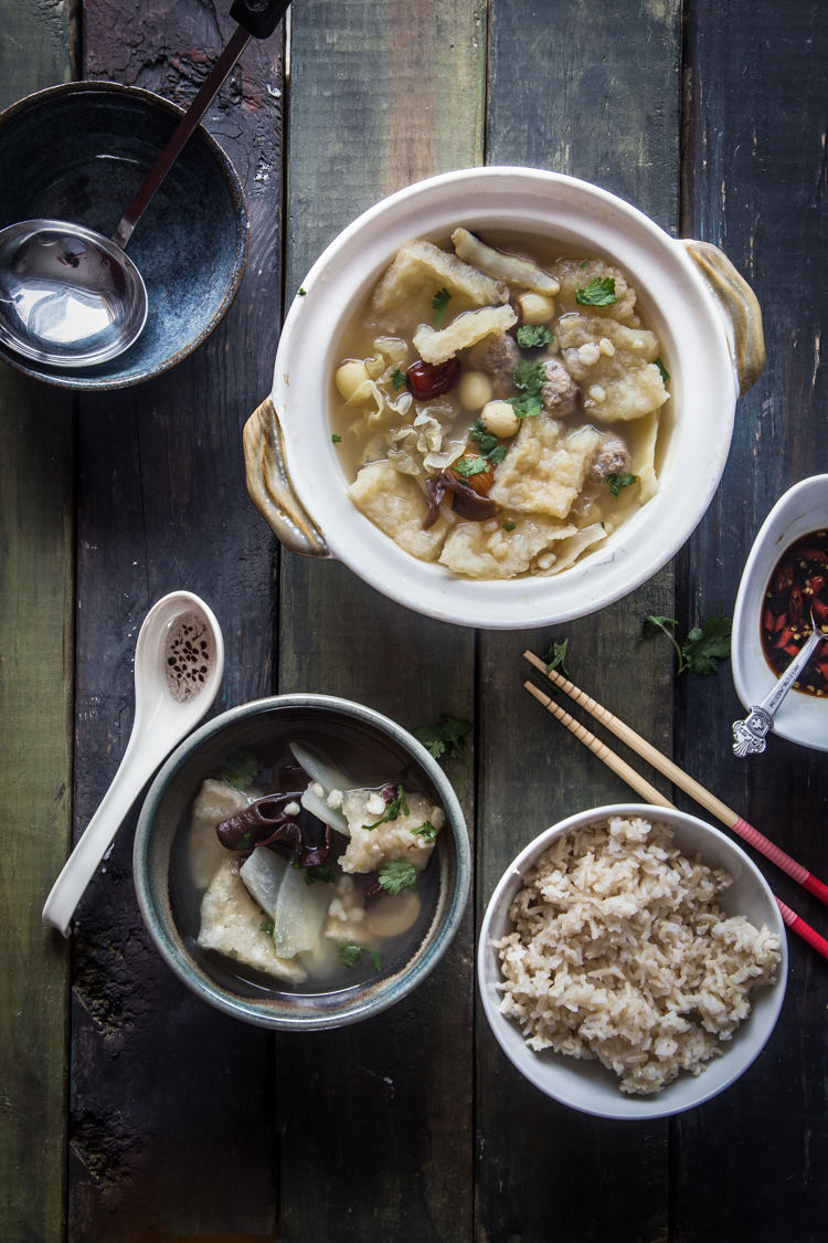 Fish maw snow fungus soup. Fish maw is commonly found prepared at Chinese home kitchen and considered a delicacy. Typically used for soup, stew, and braised dishes