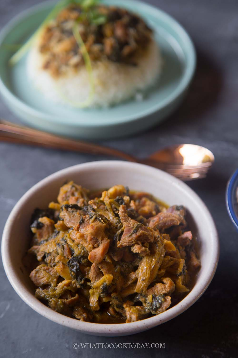 Easy Braised Mei Cai (Muy Choy) with Pork