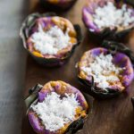 Ube Bibingka Galapong / Filipino Baked Rice Cake with Cheese and Salted Eggs