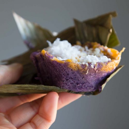 Ube Bibingka Galapong / Filipino Baked Rice Cake with Cheese and Salted Eggs