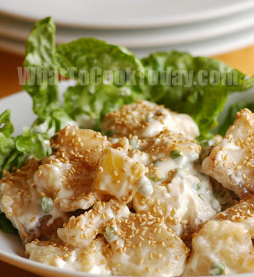 SESAME FISH IN MAYONNAISE DRESSING