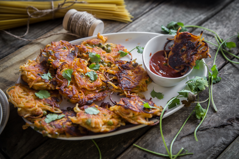 Spaghetti fritters.Perfect appetizers and snacks. Crispy on the outside and soft in the middle. The best EVER! Read for more details What To Cook Today