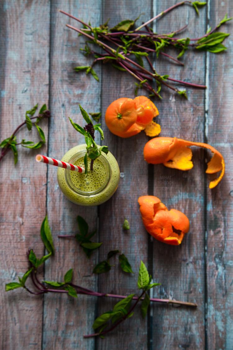 Basil Mandarin orange smoothie #glutenfree #vegan