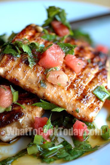 GRILLED SALMON WITH WATERMELON SALSA VERDE