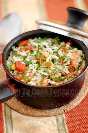 RICE WITH PISTACHIOS AND HERBS