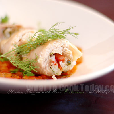 CHICKEN STUFFED WITH RICE, PISTACHIOS, AND HERBS/ PILIC SARMASI