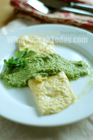 Cheese Omelet with Poblano sauce