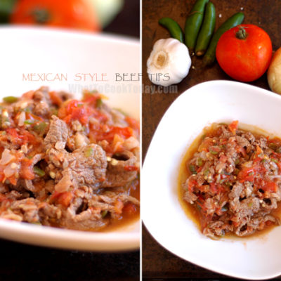 MEXICAN STYLE BEEF TIPS/ PUNTAS DE FILETE A LA MEXICANA