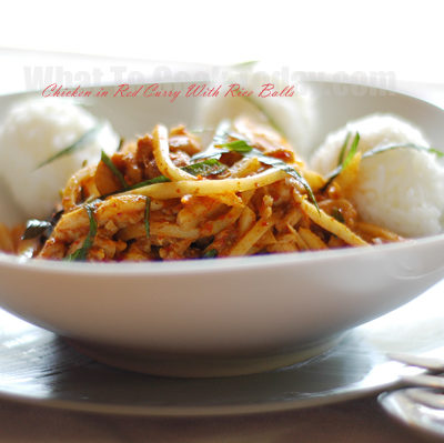CHICKEN IN RED CURRY WITH RICE BALLS