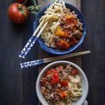 Kazakh Noodles with Laghman sauce