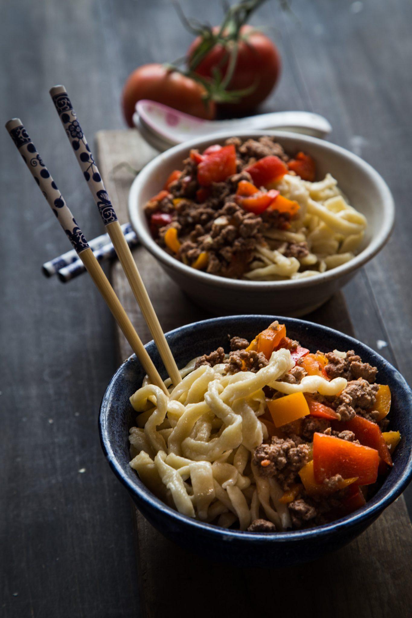 Kazakh Noodles with Laghman sauce #uyghurnoodles #laghman