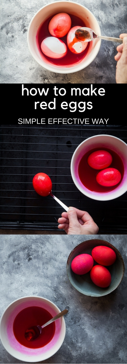 How to make red-shelled eggs collage