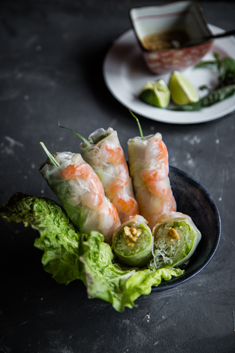 Vietnamese fresh spring rolls (Goi Cuon) typically consists of shrimp, pork, fresh veggies, bún (Vietnamese rice noodles) wrapped in bánh tráng (rice paper) and served with dipping sauce. Perfect as healthy meal or appetizer or snacks