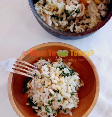 CHICKEN AND KALE RISOTTO WITH PINE NUTS AND BACON