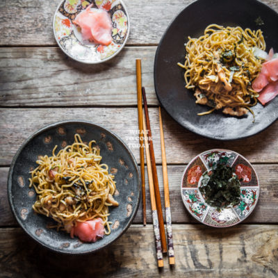 Easy Yakisoba (Japanese Stir-fried Noodles with Pork and Vegetables)