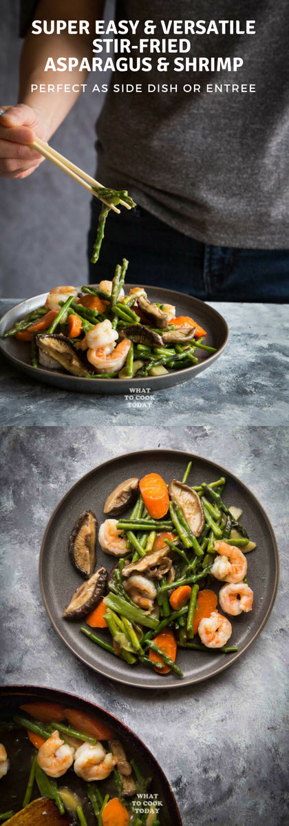 Super Easy and Versatile Stir-fried Asparagus and Shrimp - Learn how to make a perfect asparagus stir-fry with shrimp and other veggies. This will become your favorite and easy weeknight meal solution. Can be a side dish or an entree.