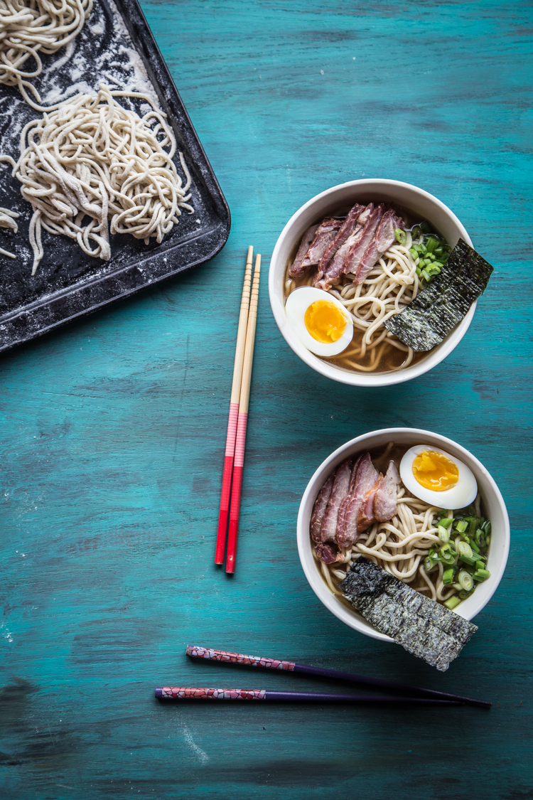 shoyu ramen with homemade ramen noodles