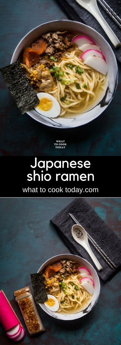 Japanese Shio Ramen. Ramen noodles are served in light salt-based shio broth topped with meat, veggies, fish cakes that will satisfy that craving for ramen