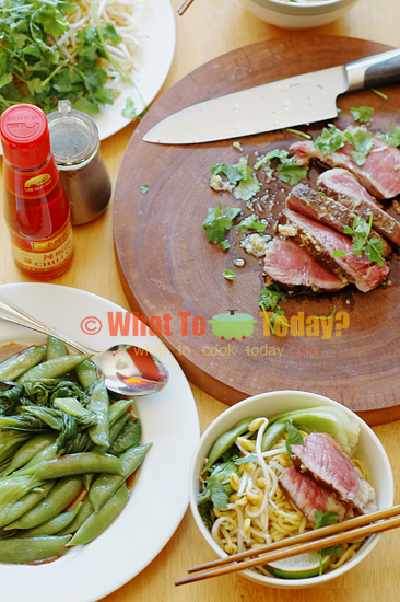 COMPLETE 30-MINUTE MEAL: RIB-EYE STEAK WITH DAN DAN NOODLES AND GREENS