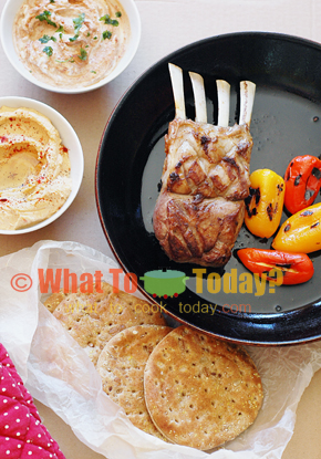 MOROCCAN LAMB CHOPS WITH FLATBREAD AND CHEESE-STUFFED PEPPERS