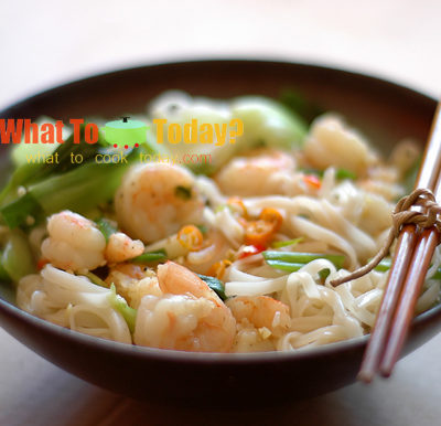 NOODLES WITH FRESH SHRIMP AND BABY GREENS/ 蝦仁菜心面