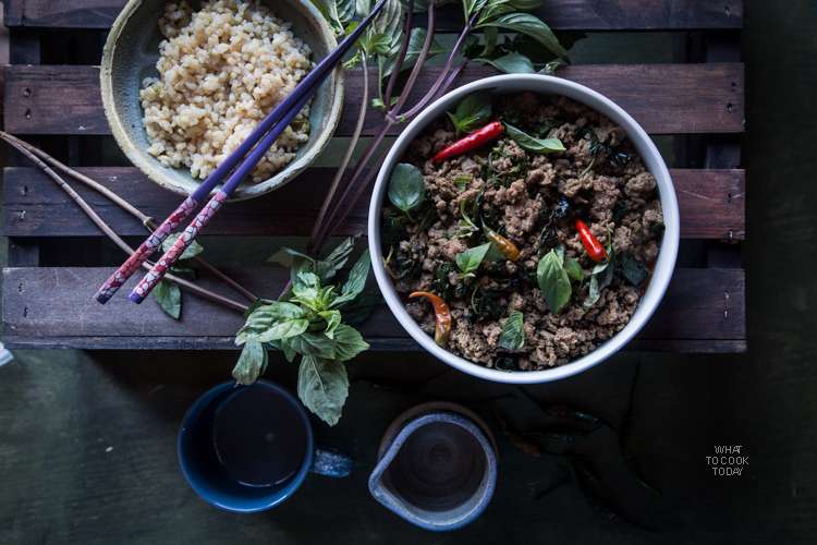 Stir-fried chicken with Thai basil (Gai Phat Krapao). Easy one-pan recipe you will love to make over and over