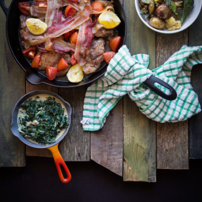 30-MINUTE MEAL: Tray-baked chicken, Squashed potatoes, and creamed spinach