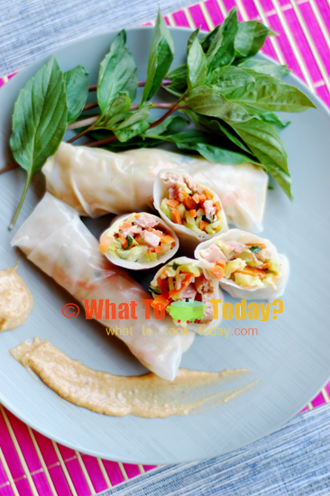 VEGETABLE SPRING ROLLS WITH COCONUT AND PEANUT DIP