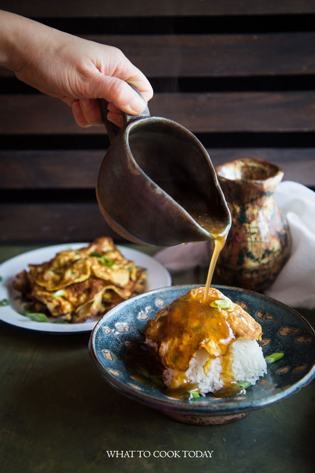 Egg foo yong (Asian omelette with gravy)