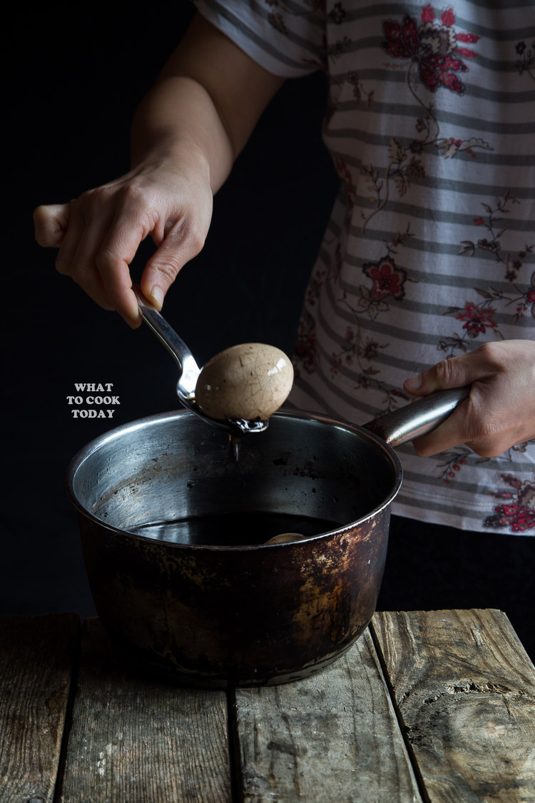 Marbled Tea Eggs are hard-boiled eggs with cracked shells and boiled again in herbs, seasonings, and tea leaves to create that beautiful marbles on the eggs.