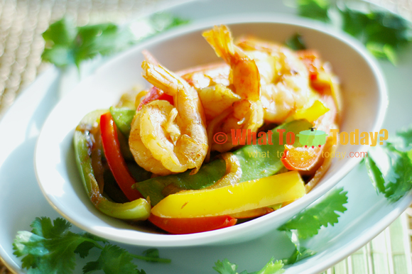 SHRIMP STIR-FRY WITH PEPPERS AND SWEET PEAS