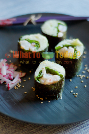 SHRIMP, SPINACH AND WASABI MASH ROLLS