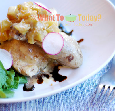 SOUS VIDE CHICKEN WITH APPLE CHUTNEY, ORANGE POMMERY CREAM AND BALSAMIC VINEGAR REDUCTION