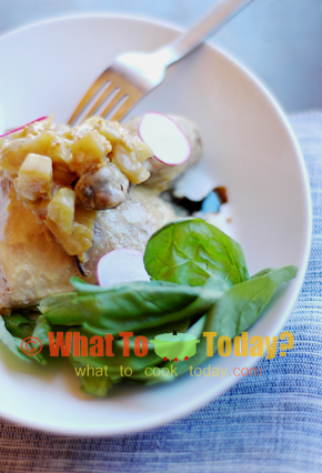 SOUS VIDE CHICKEN WITH APPLE CHUTNEY, ORANGE POMMERY CREAM AND BALSAMIC VINEGAR REDUCTION