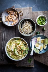 Burmese Coconut Chickpeas Noodle Soup (Ohn-No Kyaukswe)
