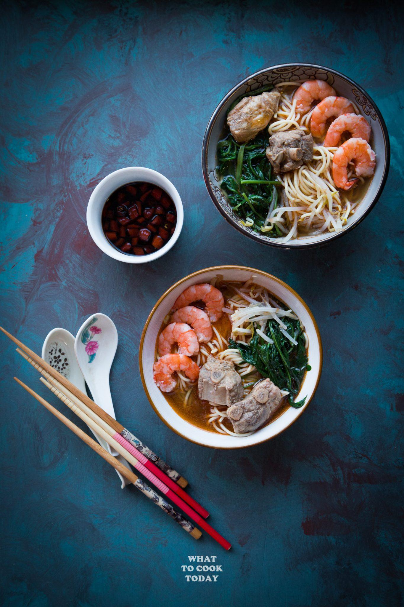Singapore Prawn and Pork Ribs Noodle (Hae Mee) #Prawn #shrimp #noodle