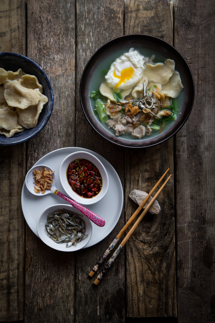 Mee Hoon Kueh (Hand-torn Noodles). These irregular shape hand-torn noodles are probably the easiest noodle one can make yet it brings so much comfort served in soup with meat and fried anchovies and poached egg