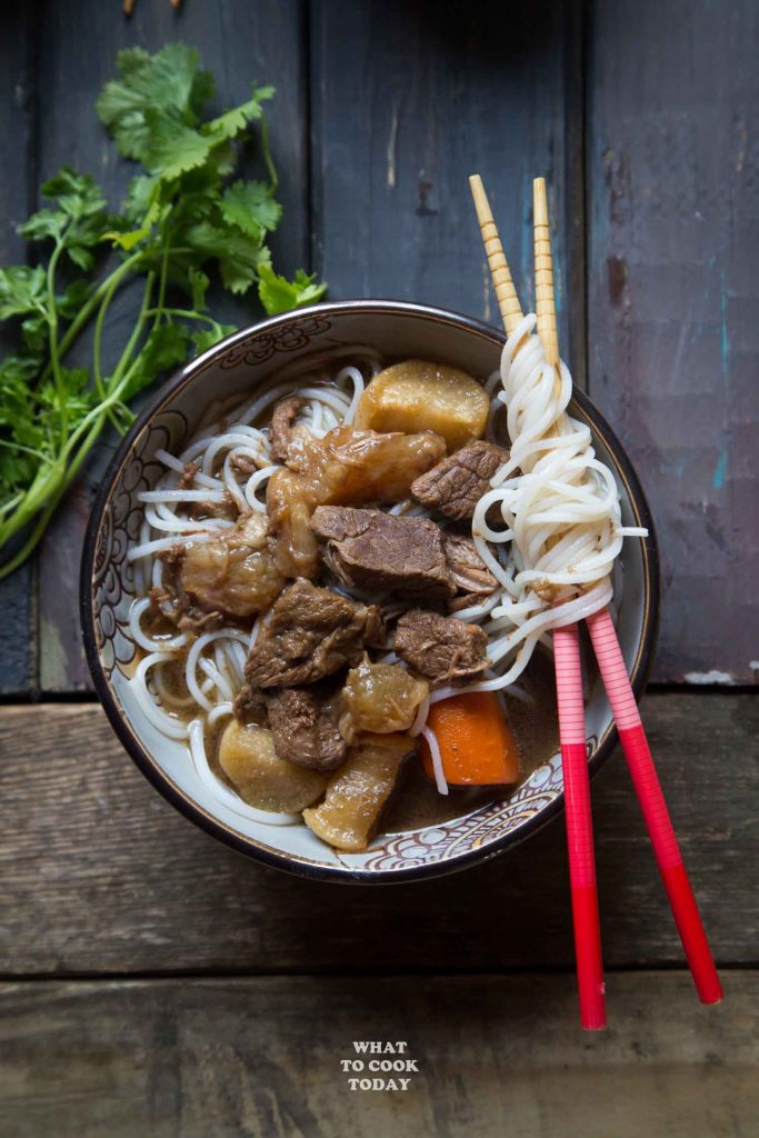 Pressure Cooker Beef Stew with Tendon and Daikon