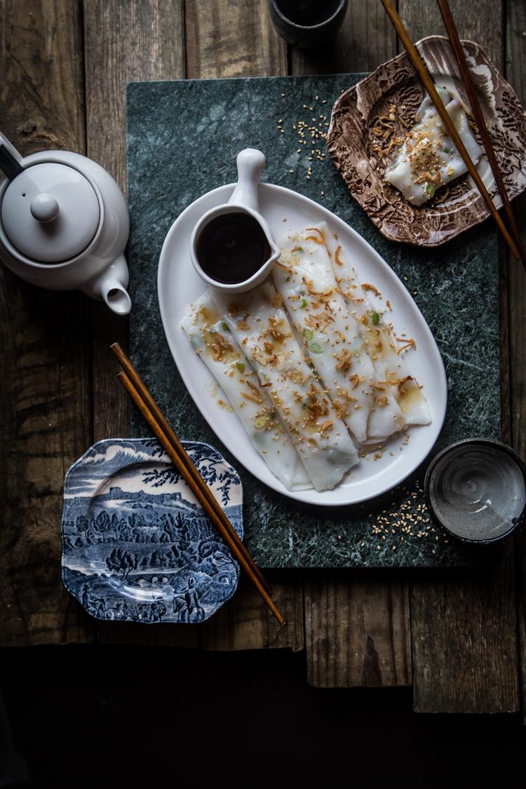 Chee Cheong Fun / Cheung Fun (Steamed rice rolls)