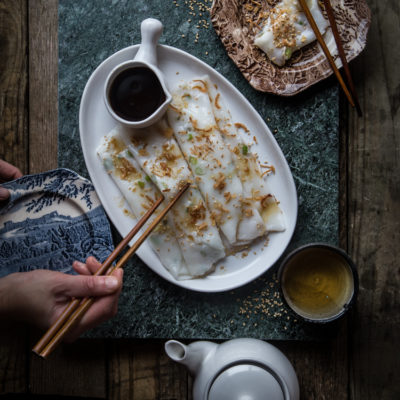 Chee cheong fun (Steamed rice rolls)