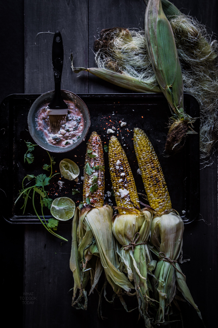 Grilled Oaxacan-style Corn. The savory, creamy, spicy and that zing from the lime give take these corn to the next level