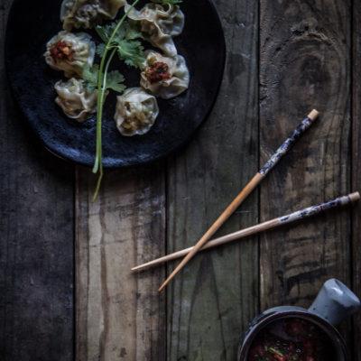 Nepali momo with tomato cilantro chutney